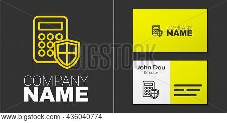 Logotype Line Security System Control Panel With Display Icon Isolated On Grey Background. Keypad Of