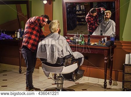 His Perfect Style. Man Want New Hairstyle. Male Beauty And Fashion. Mature Man At Barbershop. Brutal