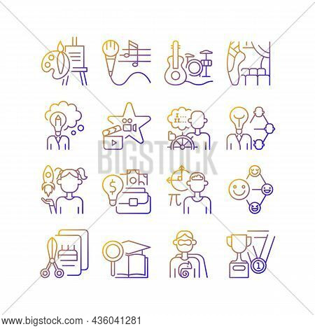 Talents And Aptitudes Gradient Linear Vector Icons Set. Skills And Intelligence. Creative And Profes
