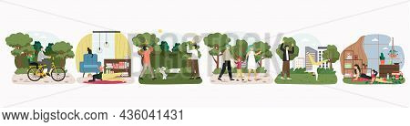 Happy Parents Walking, Playing, Riding Bike, Doing Sport With Kids, Vector Illustration. Family Rela