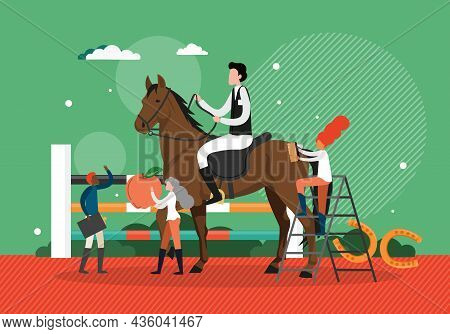 Groom, Stableman Feeding, Cleaning Thoroughbred Equestrian Show Horse, Vector Illustration. Professi