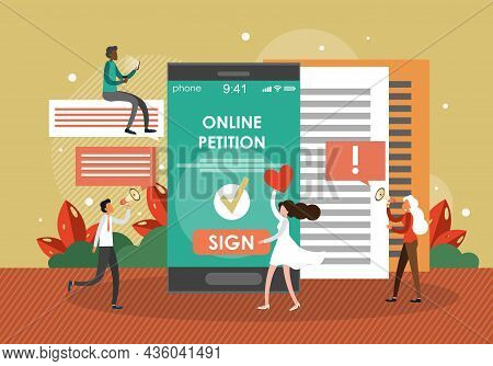 People Signing Internet Petition, Digital Document Using Mobile Phones, Flat Vector Illustration. On