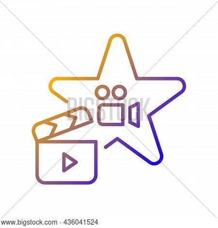 Actors Talent Gradient Linear Vector Icon. Gifted Actress And Actor. Theater Rehearsal. Movie And Tv