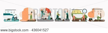 Home Repair Scene Set, Vector Isolated Illustration. Handyman Service. Home Renovation And Improveme