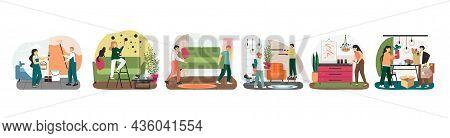 Home Repair Scene Set, Vector Illustration. Handyman Service. Home Renovation And Improvement, Furni