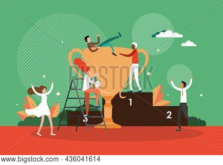 Business Team Success, Achievements With Trophy Cup, Winner Pedestal, Vector Illustration. People Ce