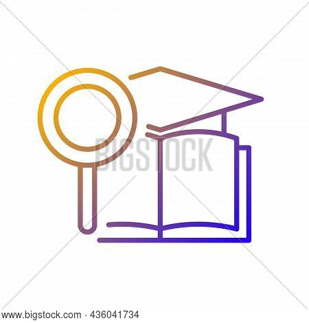 Academic Research Talent Gradient Linear Vector Icon. Study And Investigation. Cognitive Skill. Data