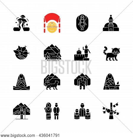Nepal Cultural Heritage Black Glyph Icons Set On White Space. Religious Festivals. Tourist Attractio