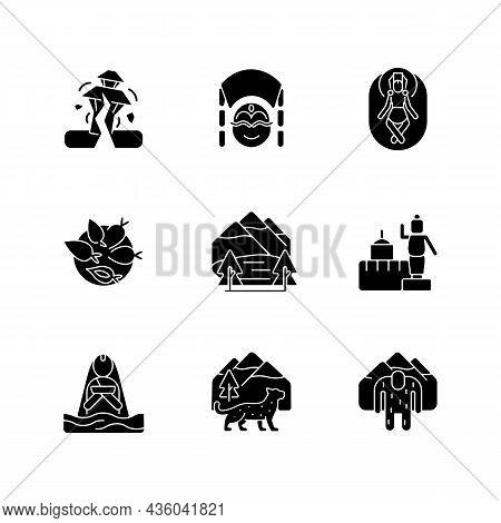 Culture Of Nepal Black Glyph Icons Set On White Space. Trekking Destination. Earthquake Risk. Religi
