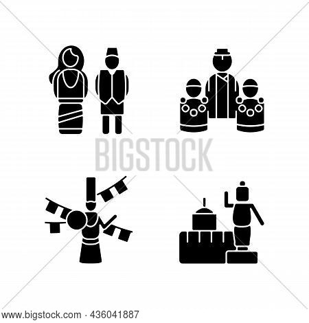 Nepalese Traditions Black Glyph Icons Set On White Space. Ethnic Costumes. Bratabandha Ceremony. Los