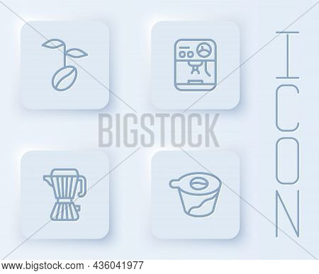 Set Line Coffee Beans, Machine, Maker Moca Pot And Pour Over Coffee. White Square Button. Vector