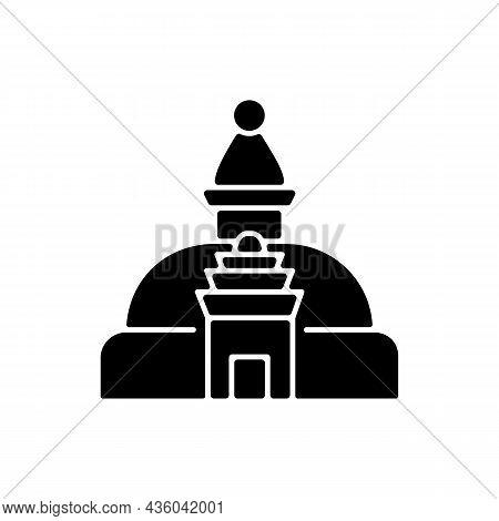 Swayambhu Stupa Black Glyph Icon. Monkey Temple. Cubical Structure With Buddha Eyes. Nepalese Holy S
