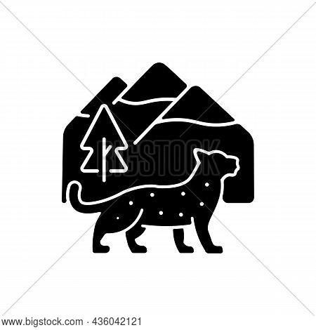 Snow Leopard Black Glyph Icon. Wild Animal Living In Nepal. Predator Of Himalayan Ecosystem. Endange