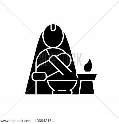 Nwaran Black Glyph Icon. Nepalese Ritual Ceremony. Newborn Baby Naming Tradition. Hindu Ritualistic