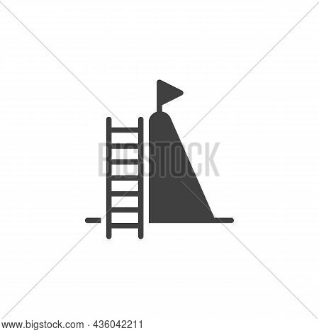 Career Ladder Vector Icon. Filled Flat Sign For Mobile Concept And Web Design. Ladder And Flag Glyph
