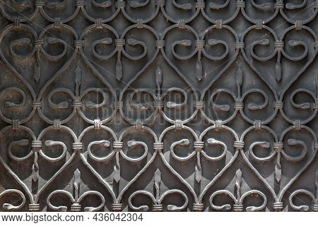 Ornate Wrought-iron Elements Of Metal Gate Decoration. Copy Space. No Focus, Specifically.