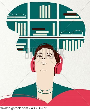Illustration Of Young Person  In Headphones Listens To An E-book Or Nonfiction Podcast In Book Libra