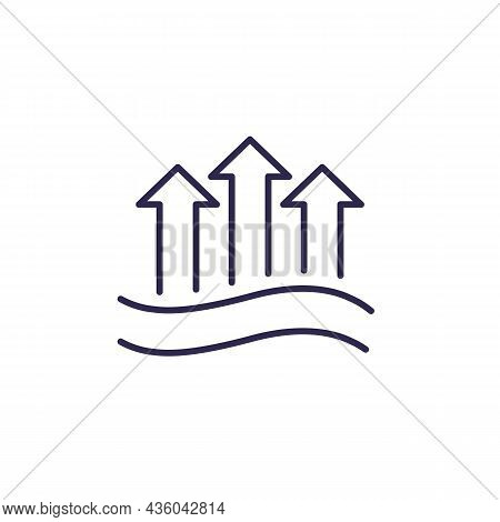 Evaporation Or Evaporate Water Line Icon, Vector