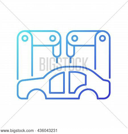 Body-in-white Manufacturing Gradient Linear Vector Icon. Assembling Car Body. Automotive Manufacturi