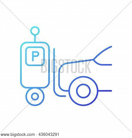 Parking Robot Gradient Linear Vector Icon. Self-driving Forklift. Automated Parking System. Robotic