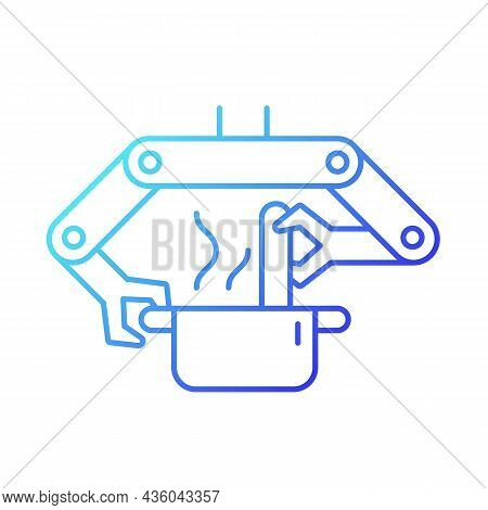 Cooking Robots Gradient Linear Vector Icon. Robotic Kitchen. Automatic Restaurant Meals Making. Robo