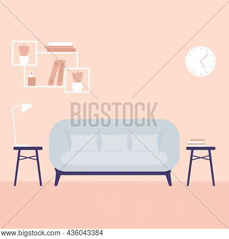 Sofa In The Living Room, Vector Art