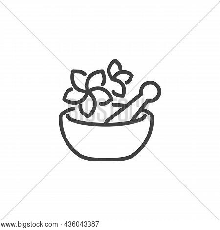 Mortar And Pestle With Flower Line Icon. Linear Style Sign For Mobile Concept And Web Design. Spa Tr