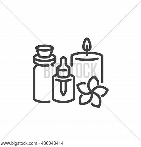 Spa Salon, Aromatherapy Line Icon. Linear Style Sign For Mobile Concept And Web Design. Essential Oi