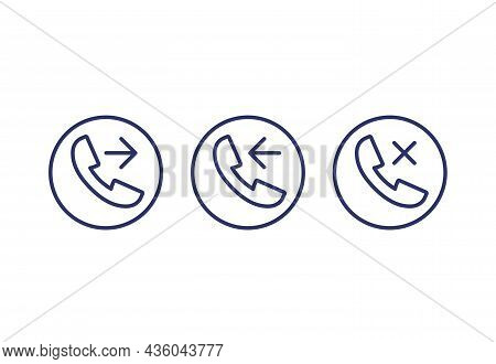 Phone Call, Incoming, Outgoing, Missed Line Icons