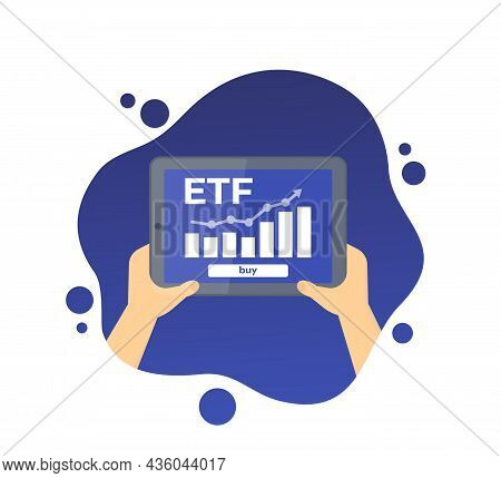 Etf Icon, Exchange Traded Fund, Tablet With Graph