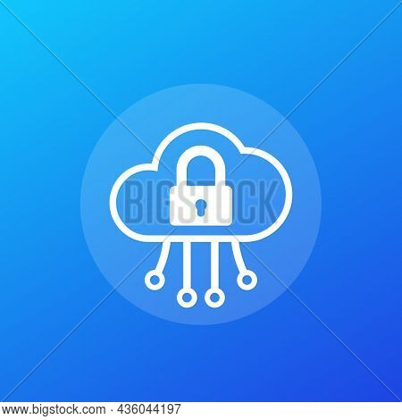 Secure Cloud Access Icon For Web, Vector