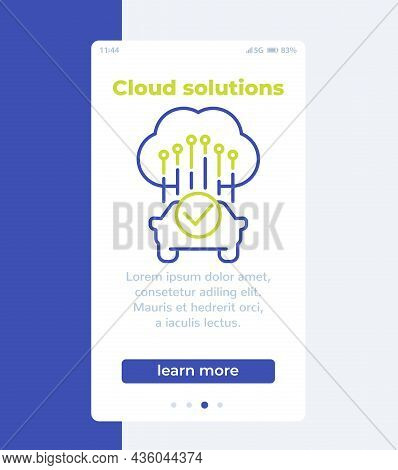 Cloud Solutions For Transport Banner With Icon