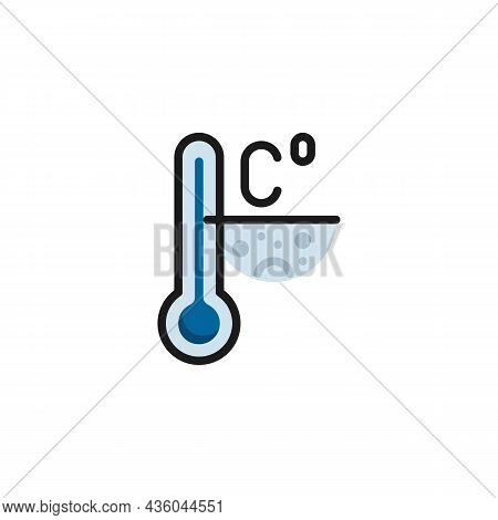 Cold Weather Temperature Filled Outline Icon, Celsius Meteorology Thermometer Line Vector Sign, Line