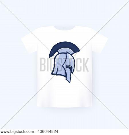 Spartan Warrior Helmet, T-shirt Print On Mockup