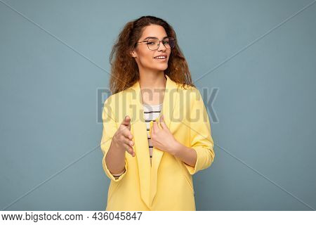 Photo Of Young Positive Happy Attractive Brunette Curly Woman With Sincere Emotions Wearing Stylish