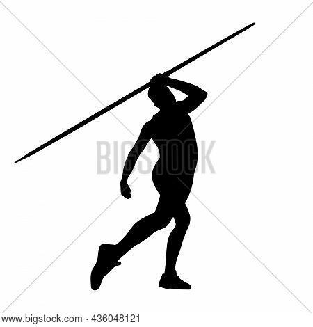 Male Thrower Athlete Javelin Throw Black Silhouette