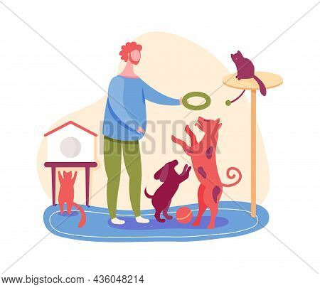 Boy With Pets In Dog Kennel, Cat And Rabbit. Vector Adoption Friend Dog Or Rabbit, Man At Doggy Kenn