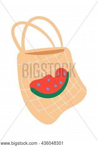 Beach Bag Or Shopper With Picture Watermelon. Fashion Bag Design, Handbag For Beach Travel, Isolated
