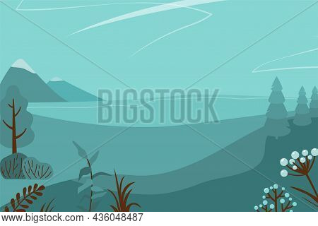 Monochrome Landscape Vector Illustration Background. Twilight, Night Panorama Nature With Abstract M