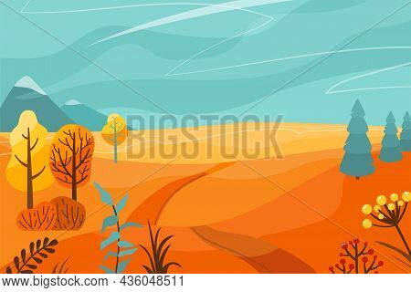 Autumn Landscape Vector Illustration Background. Fall Panorama Nature With Abstract Minimal Trees, M