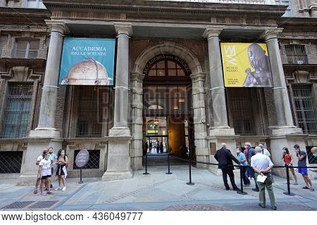 Turin, Italy - August 21, 2021: Entrance Of Egyptian Museum In Turin, Italy