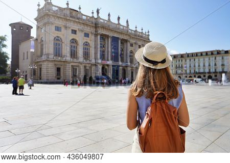 Cultural Tourism In Europe. Back View Of Female Tourist Visiting Turin, Italy.