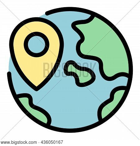 Gps Global Pin Icon. Outline Gps Global Pin Vector Icon Color Flat Isolated