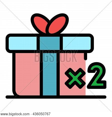 Double Loyalty Gift Box Icon. Outline Double Loyalty Gift Box Vector Icon Color Flat Isolated