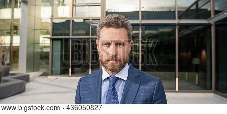 Serious Businessman In Formalwear. Business Success. Successful Man In Businesslike Suit