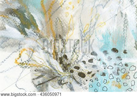 Art Watercolor and Acrylic smear blot with pencil, oil pastel doodle scribble elements. Interior abstract texture color stain background.