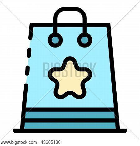 Eco Award Bag Icon. Outline Eco Award Bag Vector Icon Color Flat Isolated
