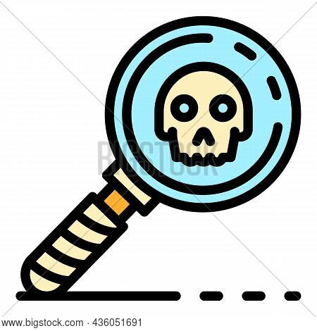 Magnify Glass Danger Sign Icon. Outline Magnify Glass Danger Sign Vector Icon Color Flat Isolated