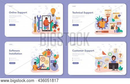 Technical Support Web Banner Or Landing Page Set. Consultant Help