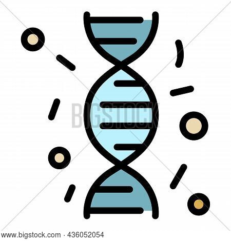 Immune Dna Icon. Outline Immune Dna Vector Icon Color Flat Isolated